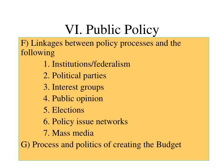 VI. Public Policy