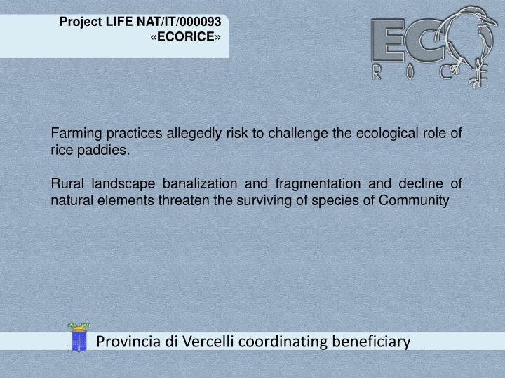 Project LIFE NAT/IT/000093 «ECORICE»