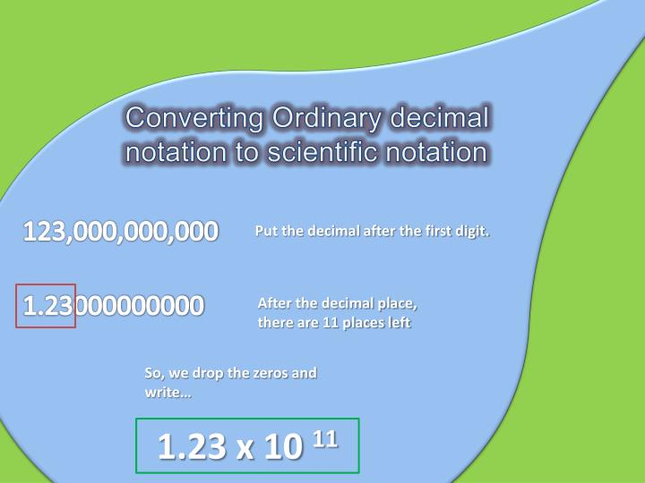 Converting Ordinary decimal notation to scientific notation