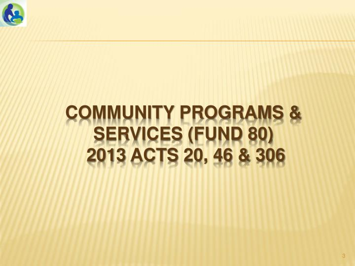 Community programs services fund 80 2013 acts 20 46 306