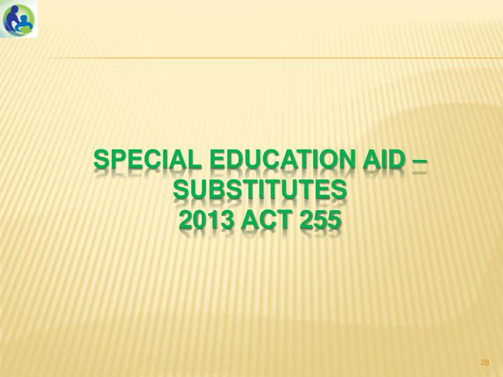Special education aid – substitutes
