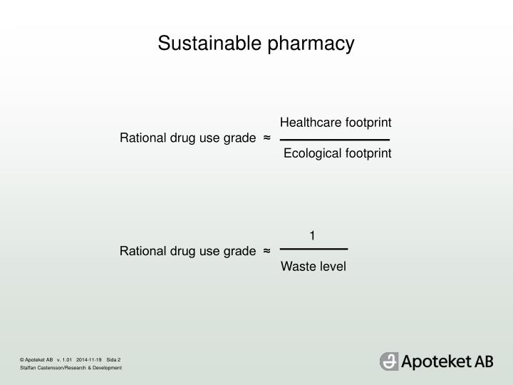 Sustainable pharmacy