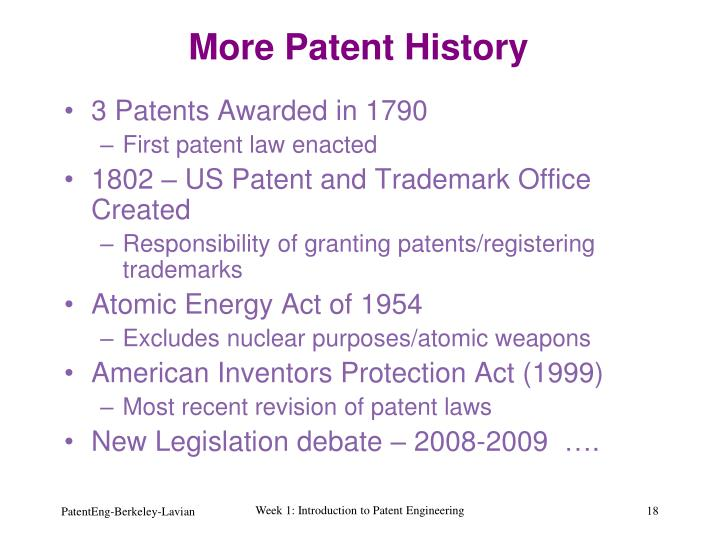More Patent History