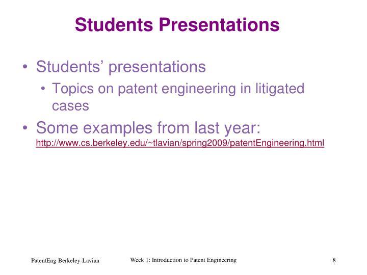 Students Presentations