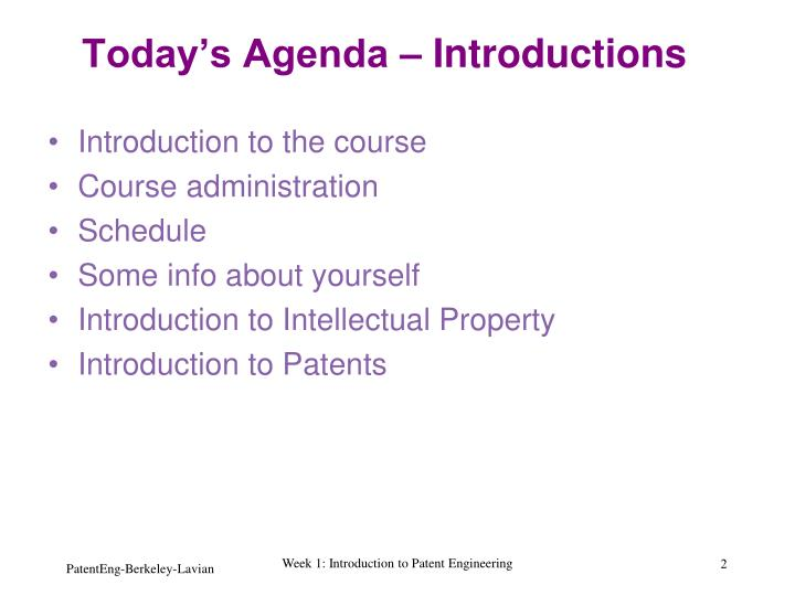 Today s agenda introductions