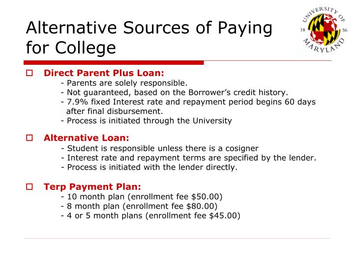 Alternative Sources of Paying for College