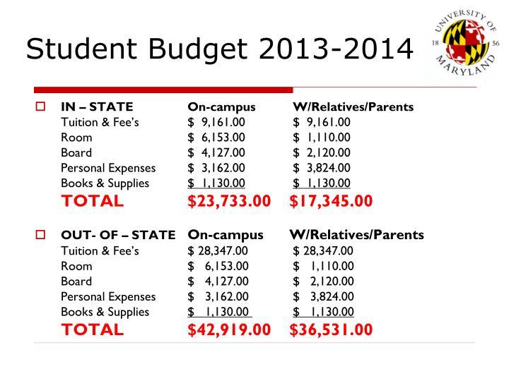 Student Budget 2013-2014