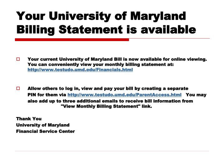 Your University of Maryland Billing Statement is available