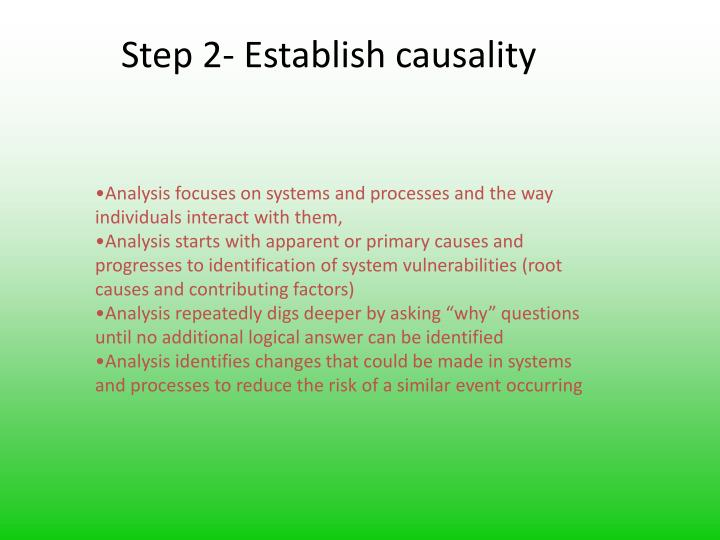 Step 2- Establish causality