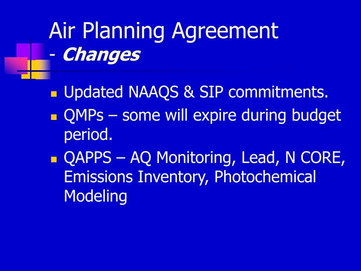 Air Planning Agreement
