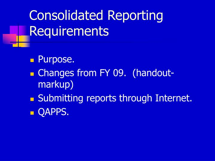 Consolidated Reporting Requirements