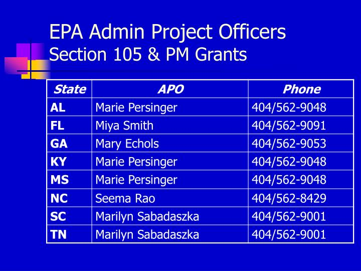 EPA Admin Project Officers