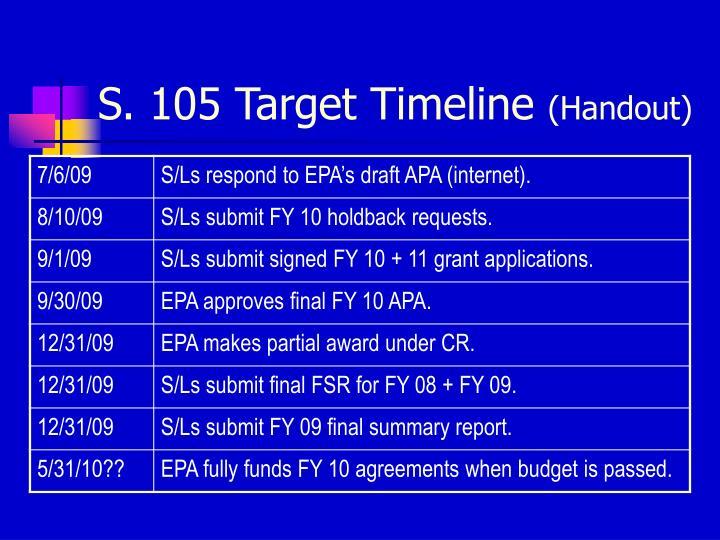 S. 105 Target Timeline