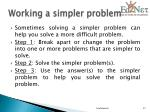 working a simpler problem