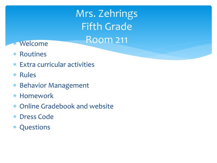 Mrs zehrings fifth grade room 211