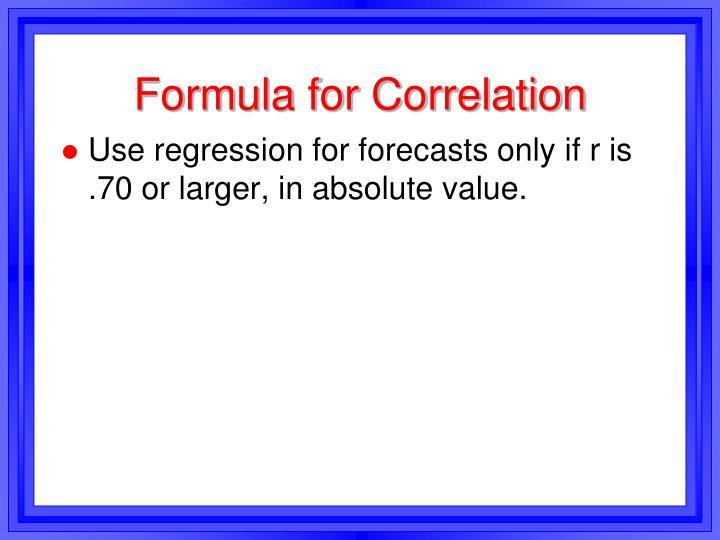Formula for Correlation