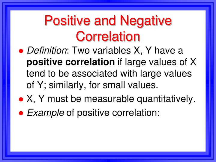Positive and Negative Correlation