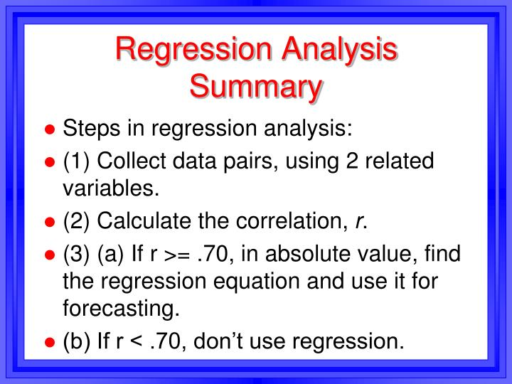 Regression Analysis Summary