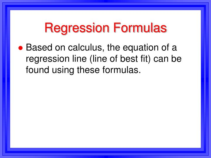 Regression Formulas