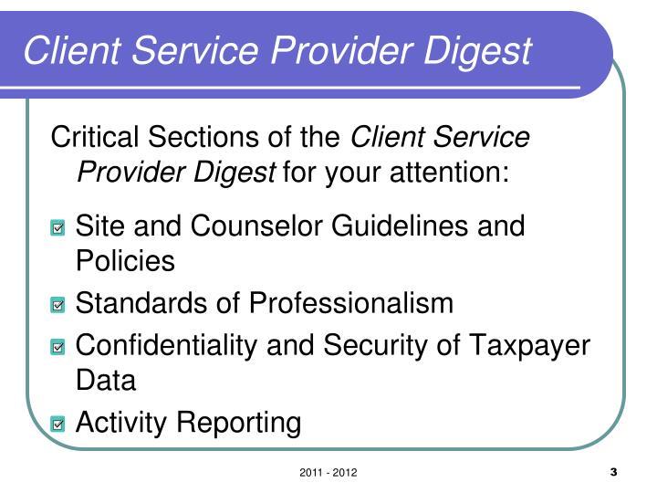 Client Service Provider Digest
