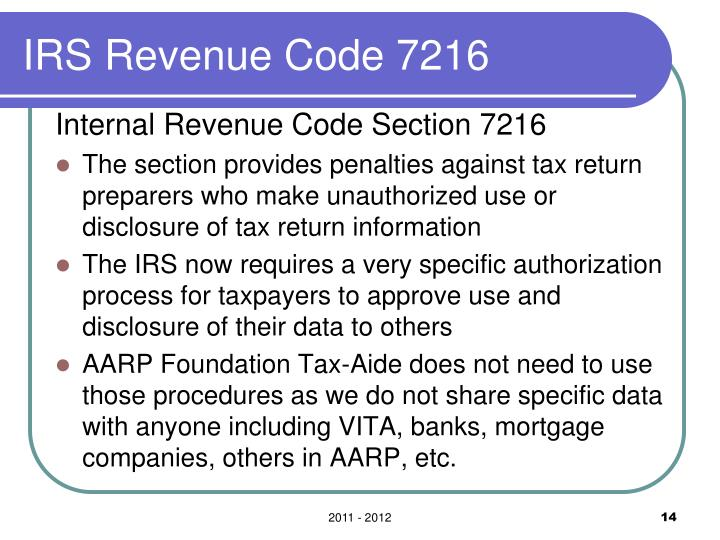 IRS Revenue Code 7216