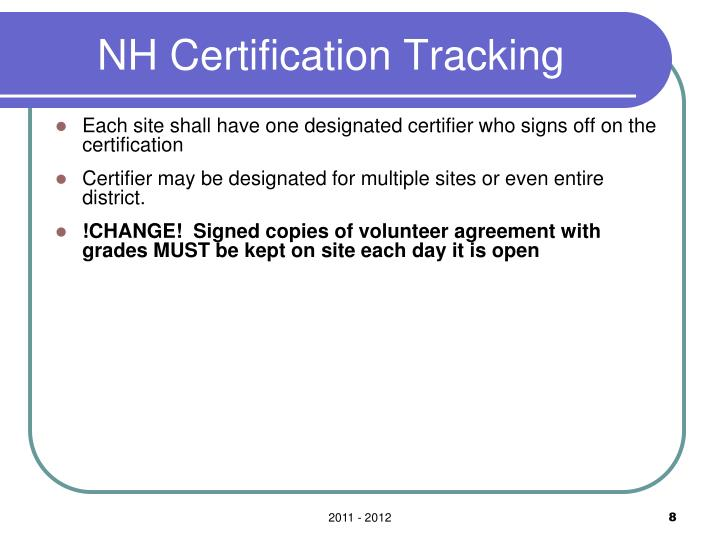 NH Certification Tracking