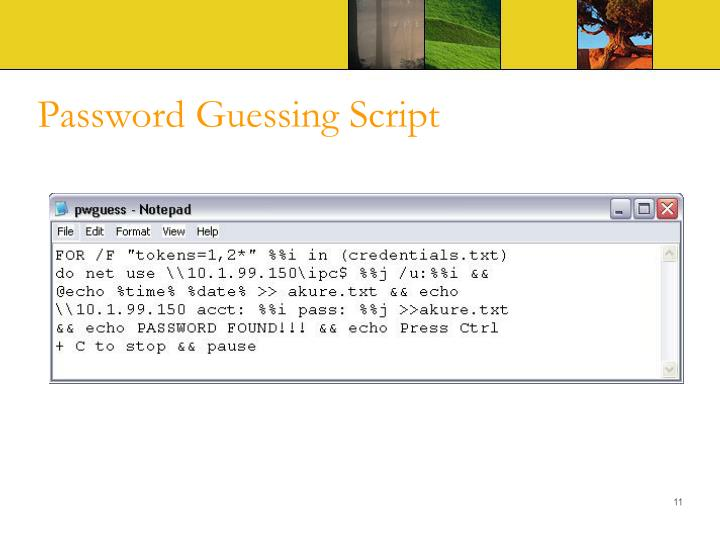 Password Guessing Script