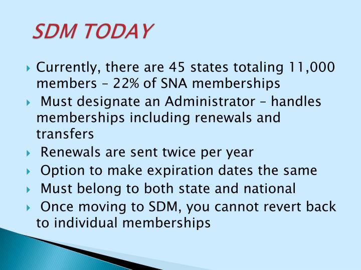 Currently, there are 45 states totaling 11,000 members – 22% of SNA memberships