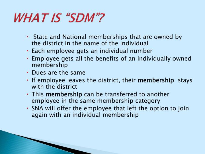 """WHAT IS """"SDM""""?"""