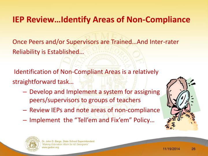 IEP Review…Identify Areas of Non-Compliance