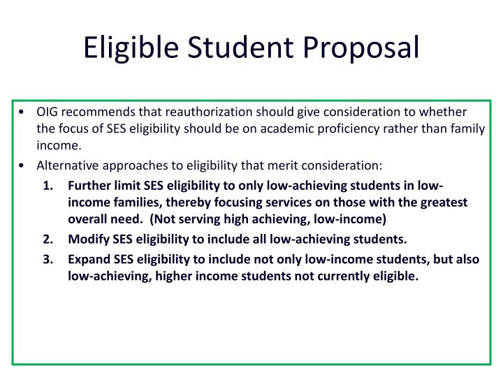 Eligible Student Proposal