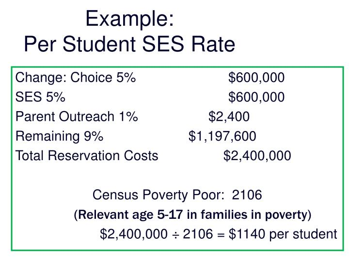 Example per student ses rate