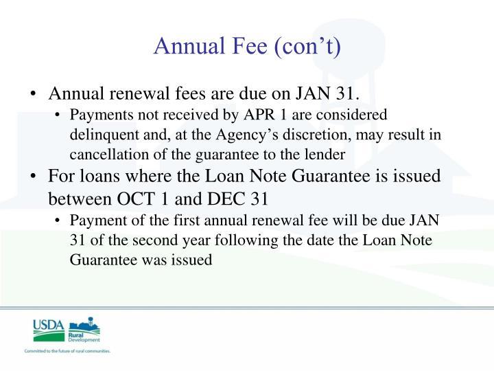 Annual Fee (con't)