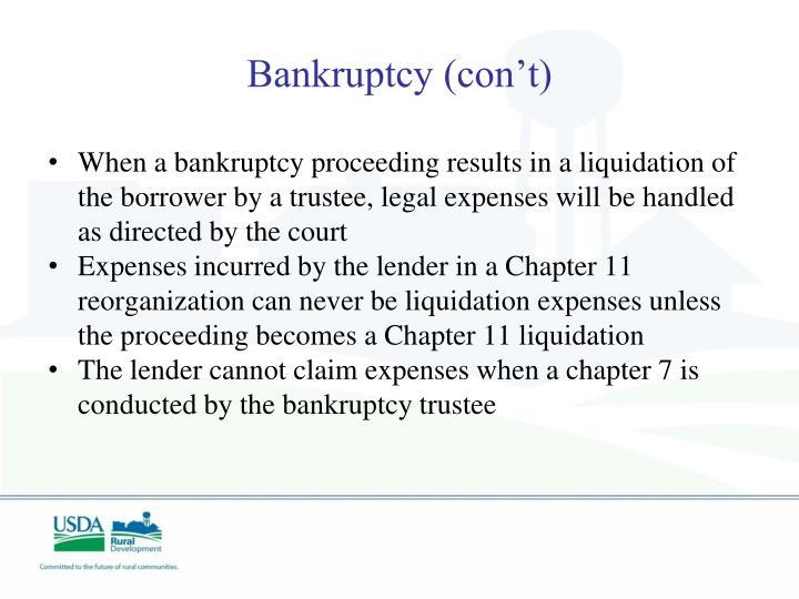 Bankruptcy (con't)