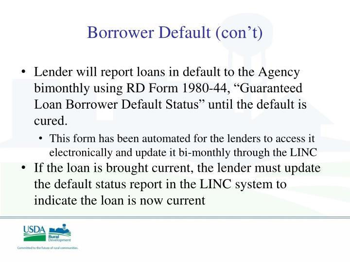 Borrower Default (
