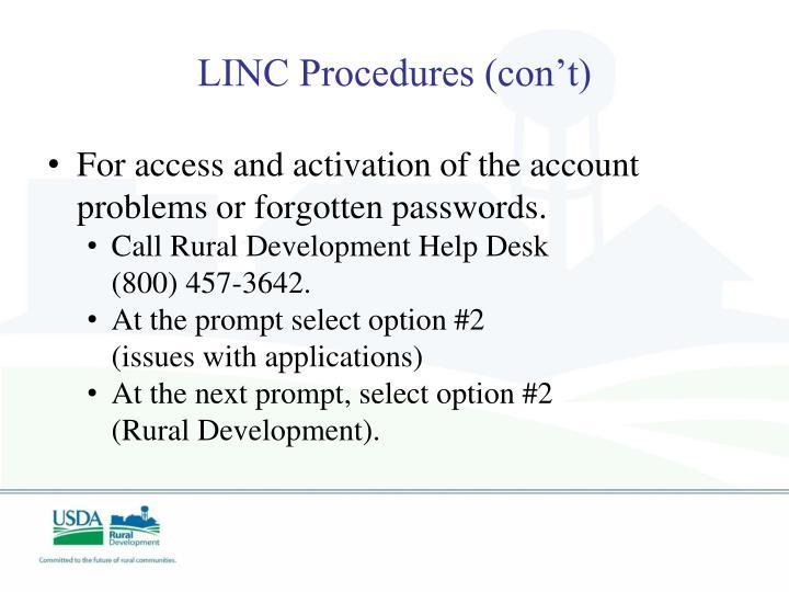 LINC Procedures (con't)