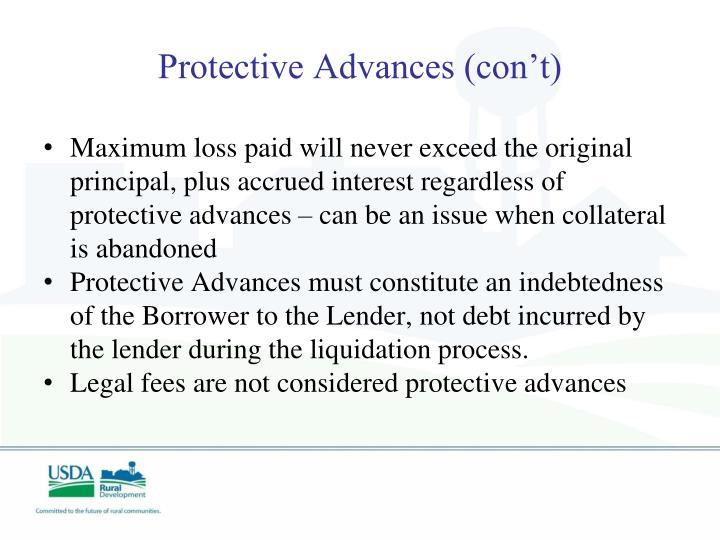 Protective Advances (con't)