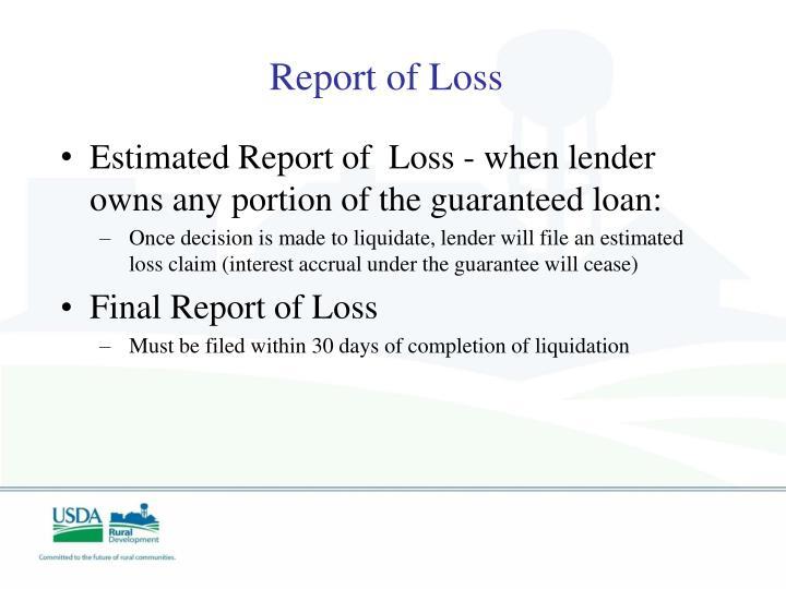 Report of Loss