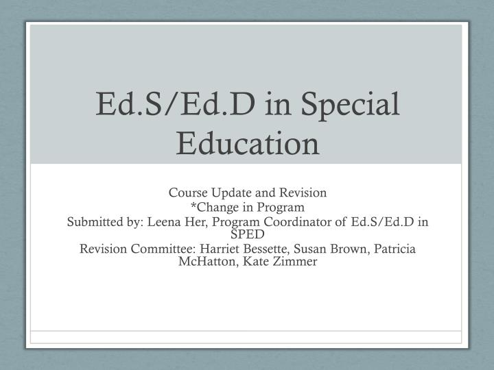 Ed s ed d in special education