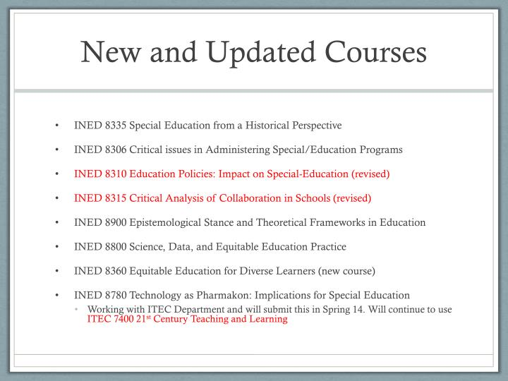New and Updated Courses