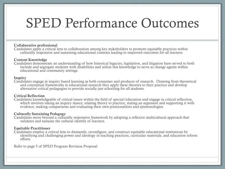 Sped performance outcomes