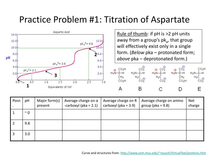 Practice Problem #1: Titration of Aspartate