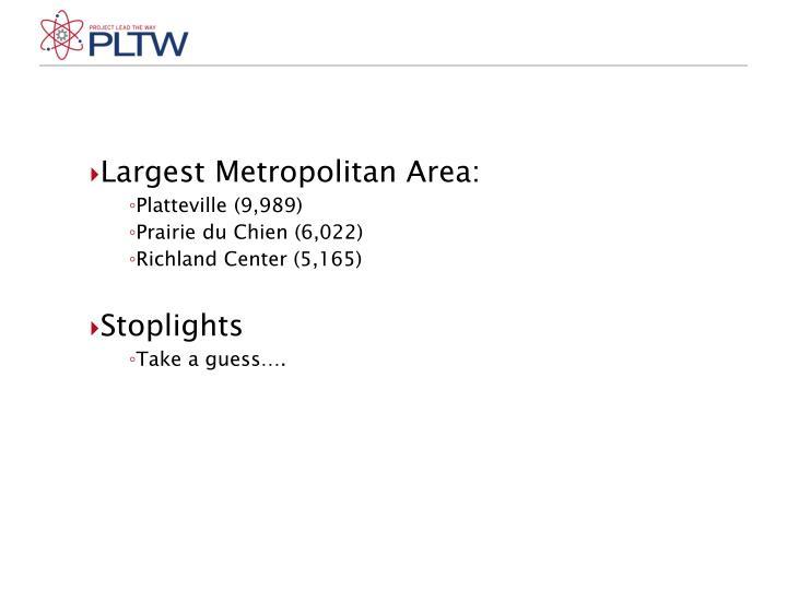 Largest Metropolitan Area: