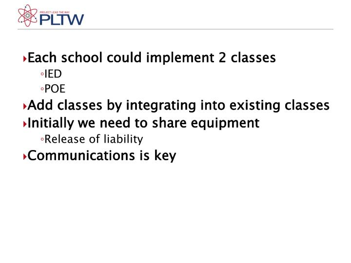 Each school could implement 2 classes