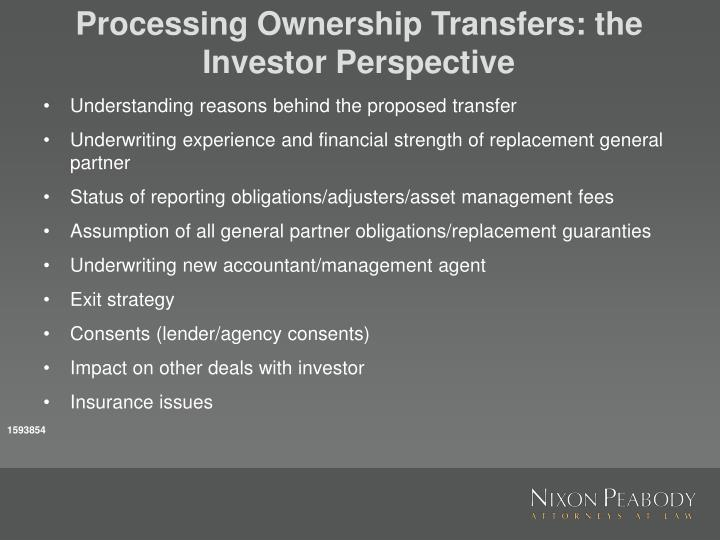 Processing Ownership Transfers: the Investor Perspective