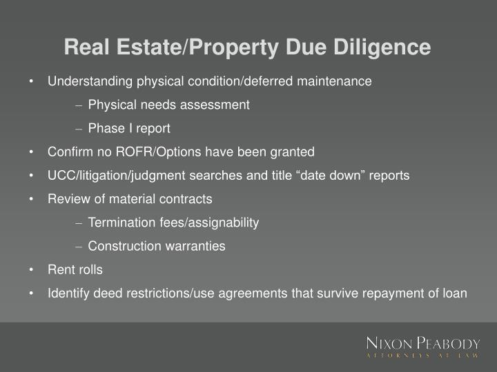 Real Estate/Property Due Diligence
