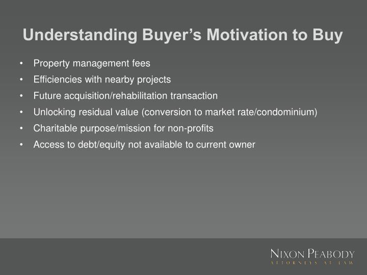 Understanding Buyer's Motivation to Buy