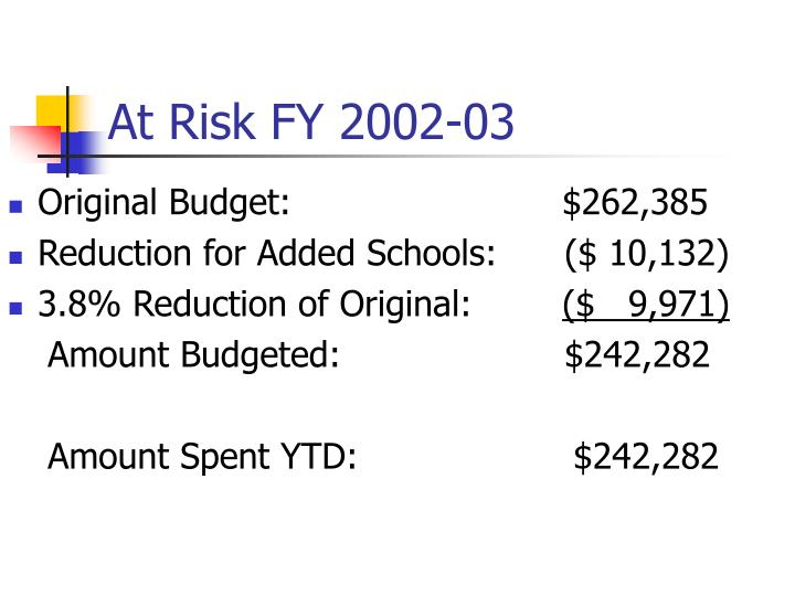 At risk fy 2002 03