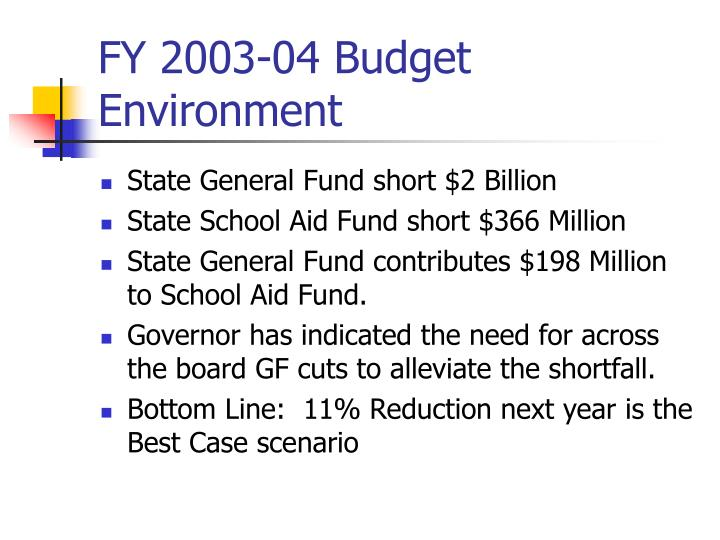 FY 2003-04 Budget Environment