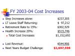 fy 2003 04 cost increases